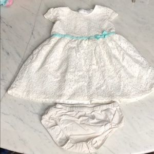 White lace formal dress w/ diaper covers sz 18 mo.
